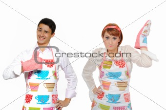 Funny collage with cooking couple