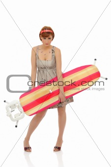 Beautiful house woman with ironing board table. isolated