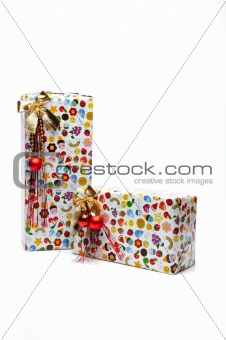 beautiful presents boxes. isolated on white background