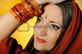 Young beautiful woman in indian traditional jewellery