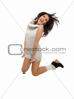 Expressions - Beautiful funny winter woman jumping and screaming