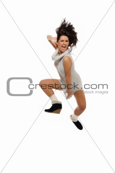 Dynamic beautiful wild winter woman jumping and screaming.