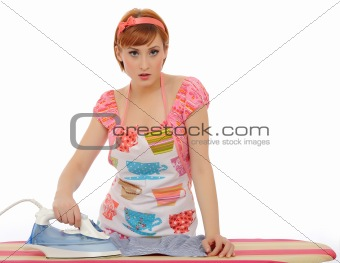 Beautiful house woman ironing mens shirt. isolated on white