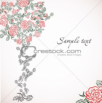 Card with flower tree. Vector