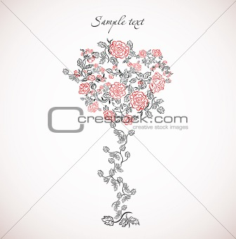 Card with floral tree. Vector