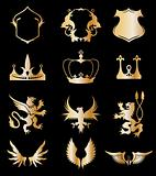 Set heraldic gold elements on black . Vector