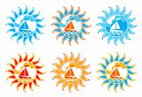 six versions of sailboat in sun