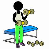 working out with dumbbell in gym