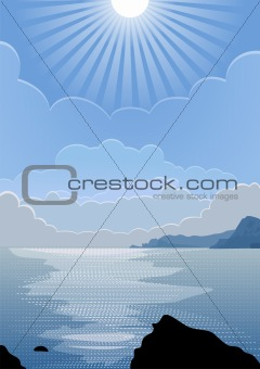 vector sunny day at sea
