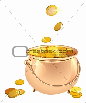 vector pot with coins