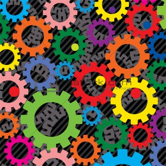 background of colorful gears