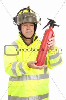 Fireman Demonstrates Fire Extinguisher