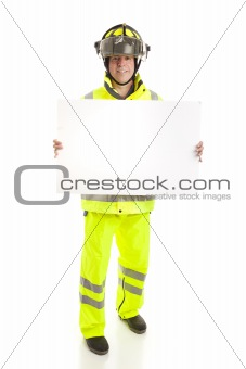 Fireman Holding Sign - Full Body
