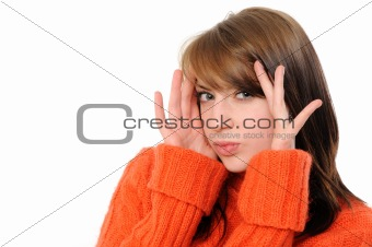 bright picture of surprised woman face