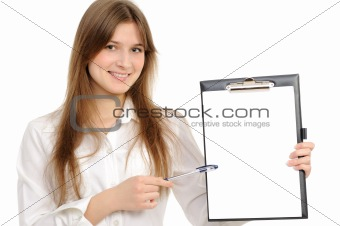 business woman with a folder representing something