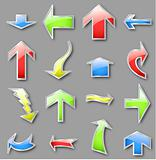 Different arrows in various colors. Vector