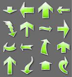 Different green arrows. Vector