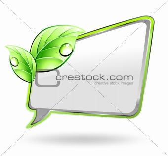 Banner with green leaf. Vector