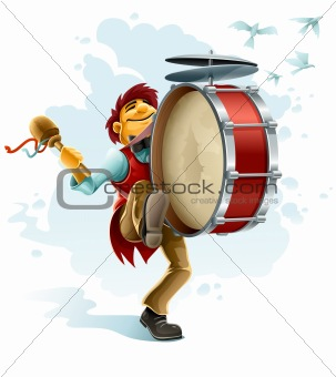 happy street musician playing drum