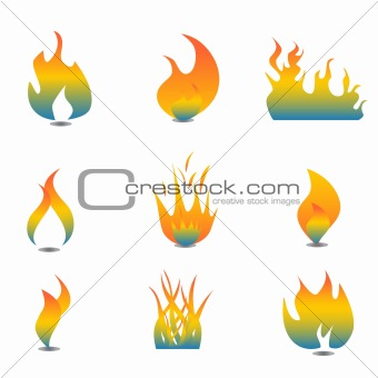 Flame icon set