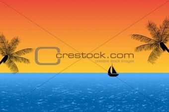 Blue ocean at sunset