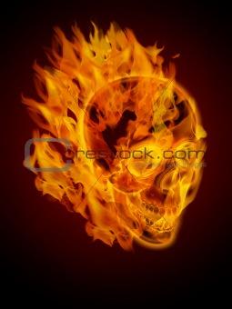 Fire Burning Flaming Skull Side