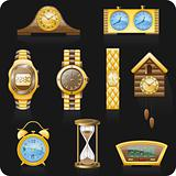 Watches black background icon set