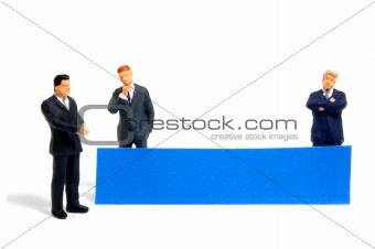business man with banner for text message