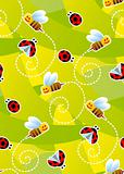 Bees and ladybugs seamless pattern