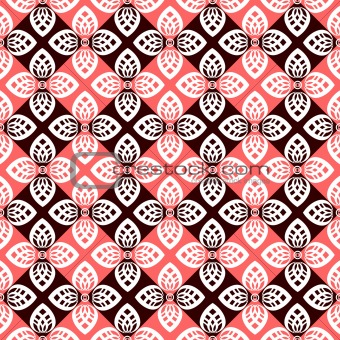 Seamless floral checked pattern.