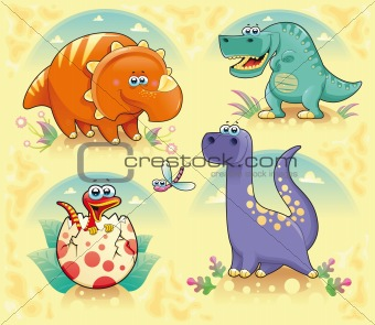 Group of funny dinosaurs.