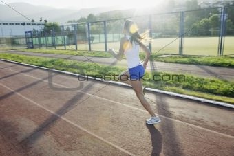woman jogging at early morning