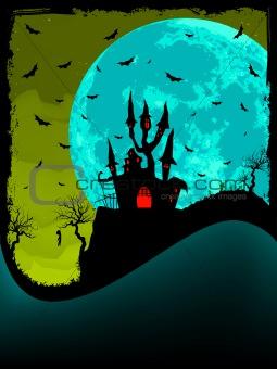 Halloween invitation with castle. EPS 8