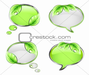 Set banner with green leaf. Vector
