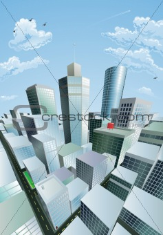 Modern cityscape of city centre financial district
