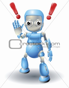 Cute robot character caution
