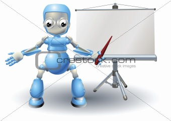 A robot mascot character presenting on roller screen