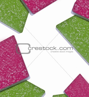 Vibrant Notebook Background with White Copy Space in Center.