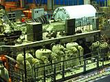 steam turbine during repair, machinery, pipes, tubes at a power