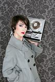 retro open reel tape woman listening music