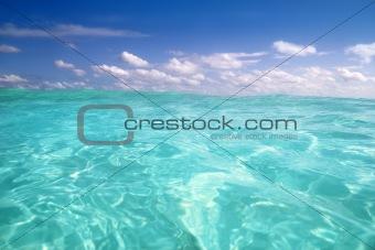 blue caribbean sea water wave horizon