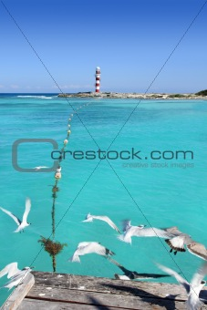Cancun lighthouse view from seagull pier