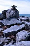 blue boulders in rocky burren landscape