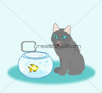 Goldfish and Hungry Cat