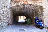 Tunnel, Motorcycle Vespa and Garbage Bins