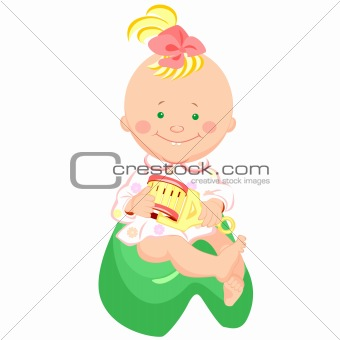 baby with a rattle is sitting on the potty