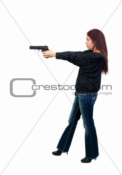 Woman Cop with Gun