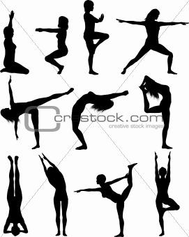 Females in yoga poses