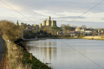 Warkworth Castle and river Aln