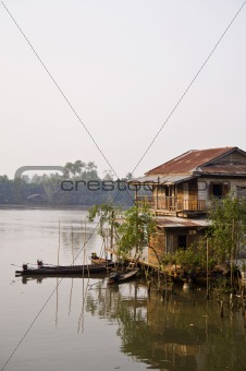 old house near river
